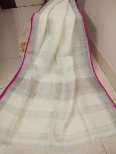 White with dark pink Linen sarees