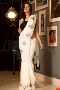 Cream linen sarees
