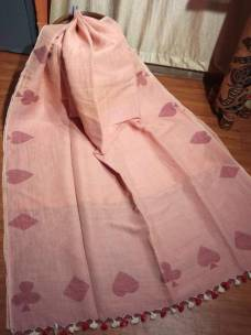 Peach linen sarees