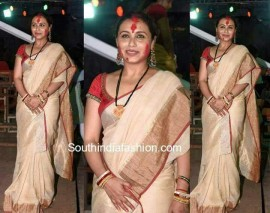 Cream and red linen sarees