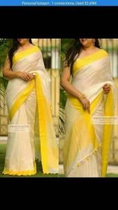 Cream and yellow linen sarees