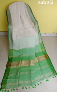 Cream white and green linen sarees