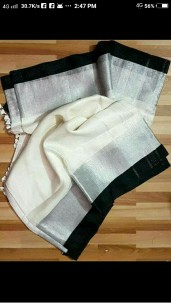 White and black linen sarees with silver jari