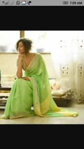 Light green and yellow linen sarees