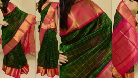 Dark green with pink kuppadam sarees