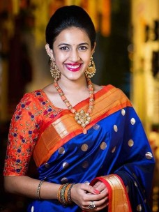 Royal blue and orange Uppada sarees with butti