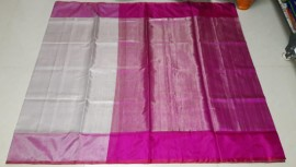 Cream white with dark pink uppada tissue sarees