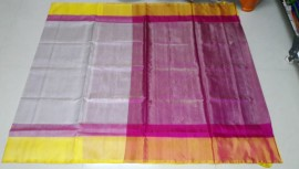 Cream with yellow and dark pink uppada tissue sarees