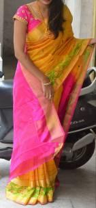 Yellow and pink Uppada sarees with pochampally border