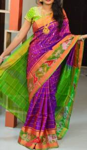 Purple and green Uppada sarees with pochampally border