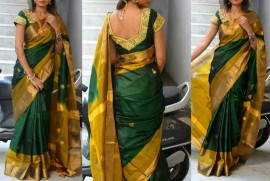 Dark green Uppada sarees with butti