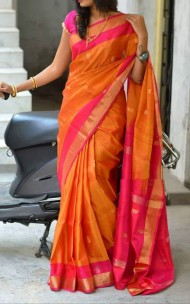 Light orange Uppada sarees with butti work