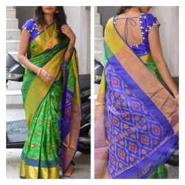 Green and dark blue Uppada sarees with pochampally design