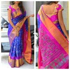 Dark blue and pink Uppada sarees with pochampally design