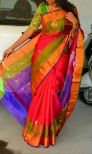 Red and violet Uppada sarees with butti