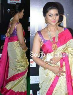 Cream and pink uppada tissue sarees