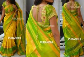 Yellow with green uppada checks sarees
