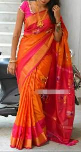 Orange and pink uppada jamdhani sarees