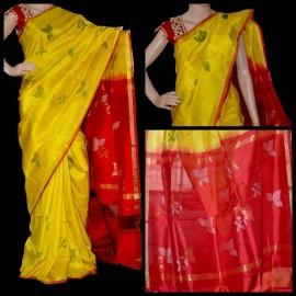 Mango yellow uppada jamdhani sarees