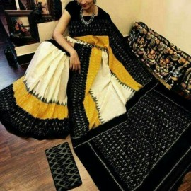 Off white with mustard yellow and black ikkat cotton sarees