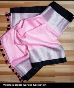 Light pink and black linen sarees