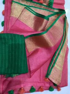 Pink with dark green linen sarees