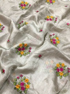 Silver tissue linen with multicolor embroidered sarees