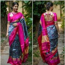 Dark grey and pink ikkat silk sarees