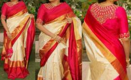Off white and red ikkat silk sarees