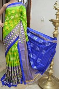 Green and blue ikkat silk sarees