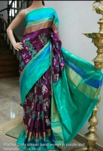 Dark violet and green ikkat silk sarees