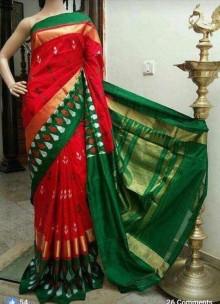 Red and dark green ikkat silk sarees