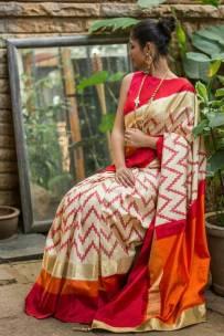 Cream with red pochampally ikkat silk sarees