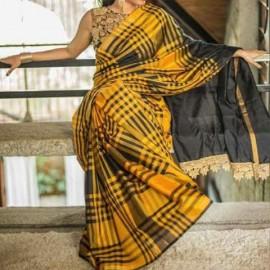 Black and mustard yellow uppada checks sarees