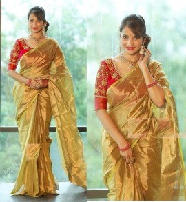 Uppada gold tissue cotton sarees