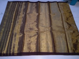 Dark brown uppada tissue cotton sarees