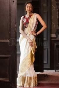 Cream white with big gold border linen sarees