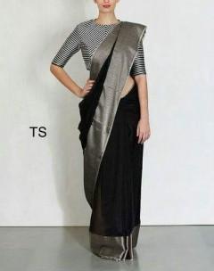 Black linen big border sarees