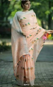 Orange linen with blue embroidered sarees