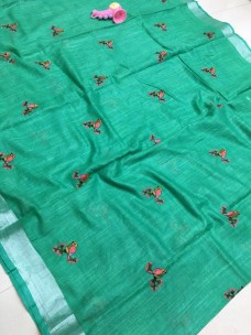 Green linen with pink embroidered sarees
