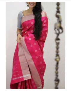 Dark pink uppada sarees with butti