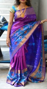 Purple and dark blue uppada sarees with pochampally border