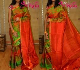 Green with orange uppada checks sarees