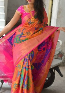 Light orange and pink uppada silk printed sarees