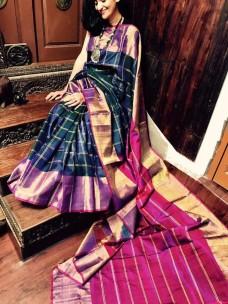 Navy blue and magenta uppada checks sarees