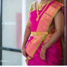 Dark pink with green uppada plain sarees