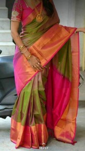 Dark green and magenta Uppada sarees with big border