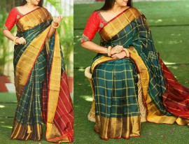 Dark green with maroon Uppada checks with jari border