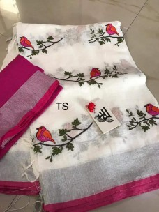 White linen with pink embroidered sarees