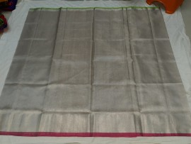 Silver uppada tissue sarees with dark pink and green border